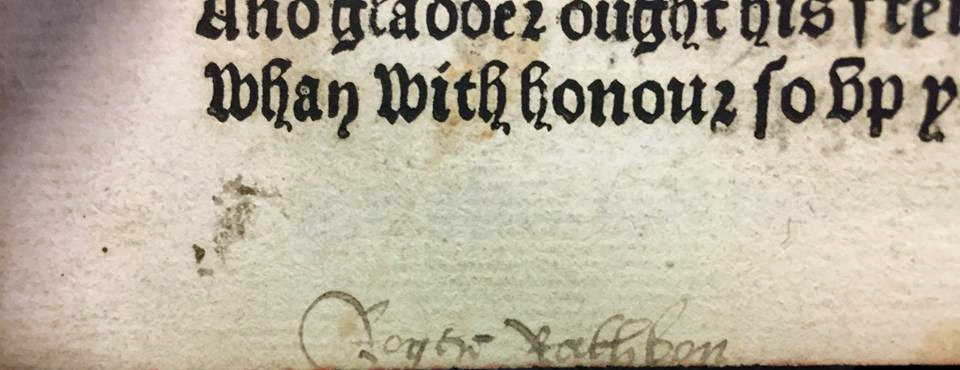 Roger Rathbon's signature in the Pynson Chaucer